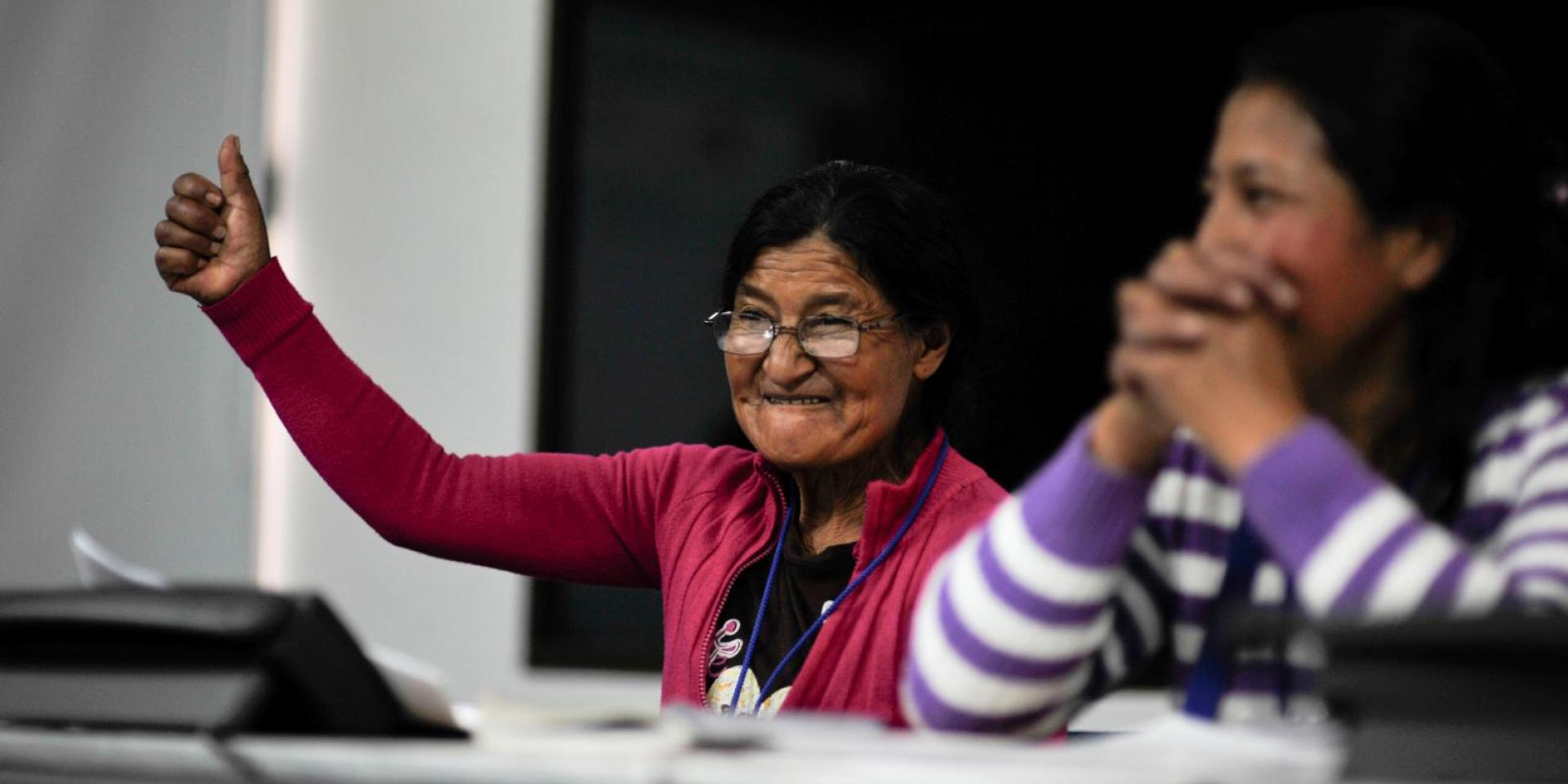Woman at climate workshop
