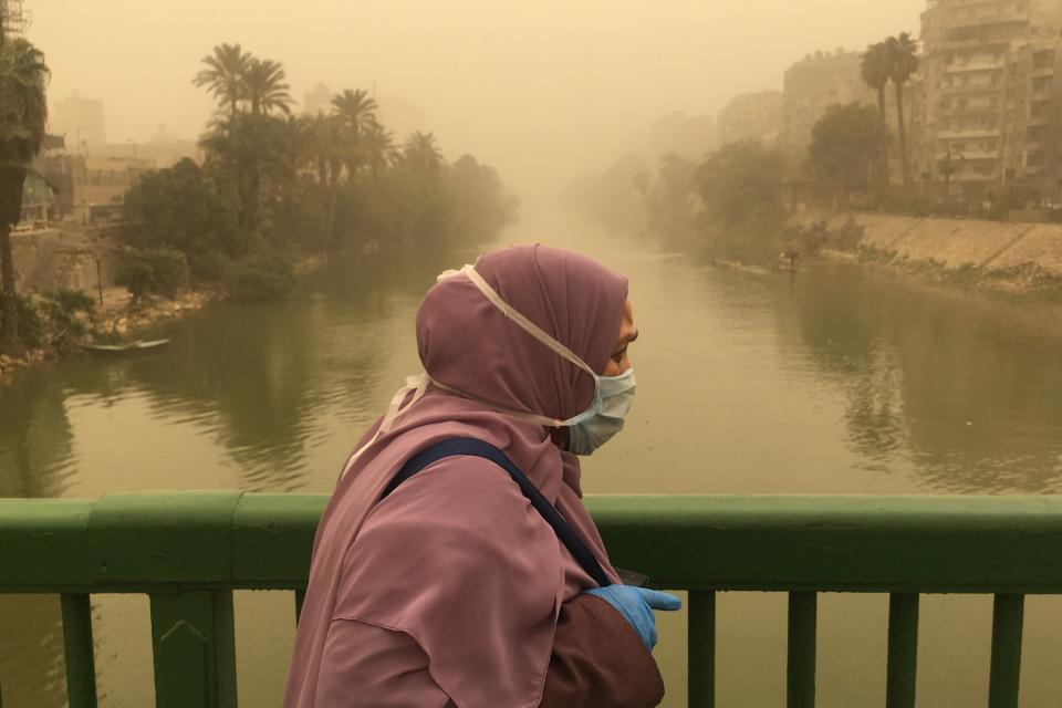 Photo of masked woman in Egypt