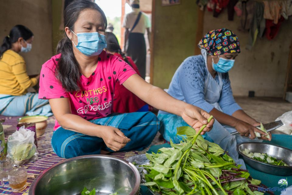A woman cutting spinach for cooking competition during the Nutrition month celebration in Pinlaung, Shan.