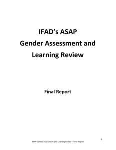 IFAD's ASAP Gender Assessment and Learning Review