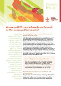 Women and RTB crops in Rwanda and Burundi: Do men decide, and women work?