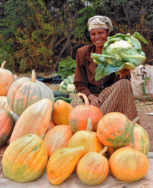 Woman selling vegetables at roadside market in Ethiopia