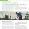 Entry points for enabling gender equality in agricultural and environmental innovation (photo credit: Bioversity International)