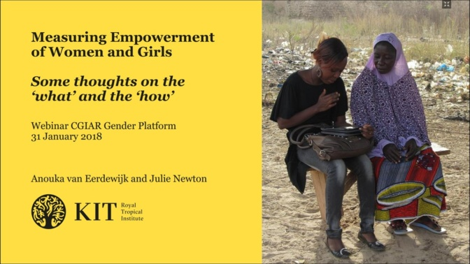 Measuring empowerment of women and girls – Some thoughts on the 'what' and the 'how'