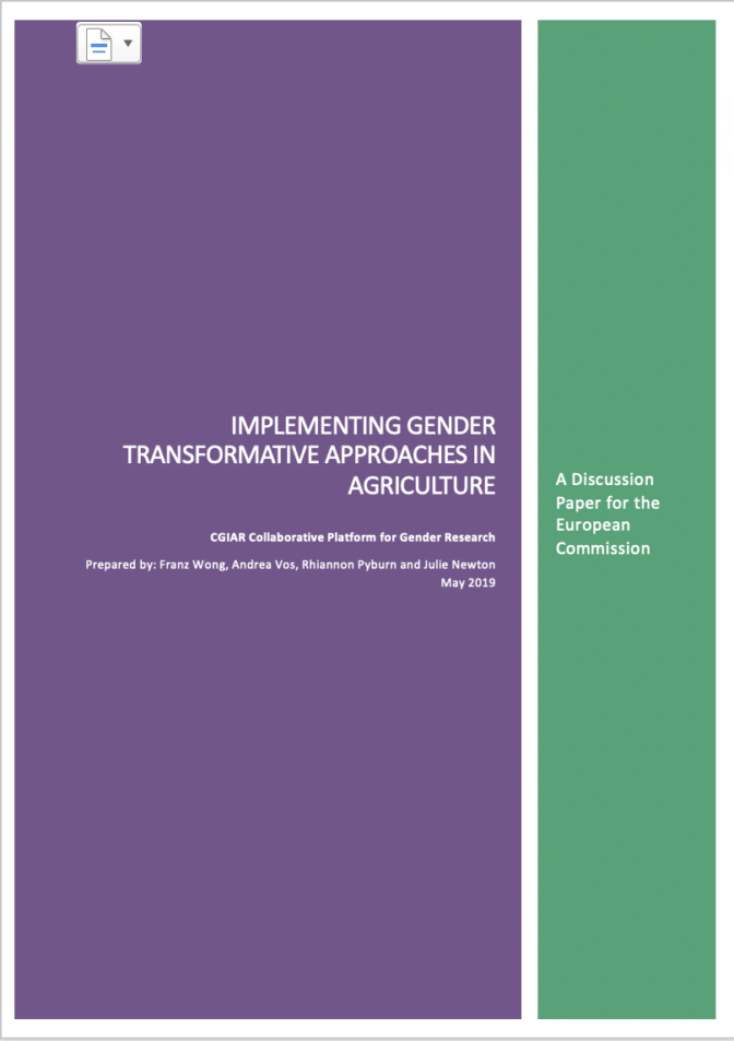 Implementing gender transformative approaches in agriculture (image credit: CGIAR Collaborative Platform for Gender Research)